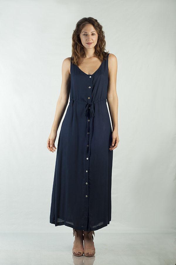 171a9e557 Vestido Longo Botões – Azul Marinho – Essence Atelie